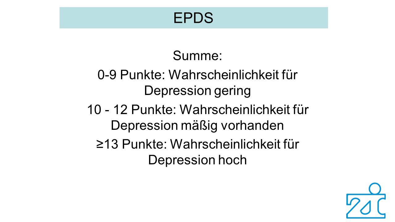 EPDS Summe: 0-9 Punkte: Wahrscheinlichkeit für Depression gering