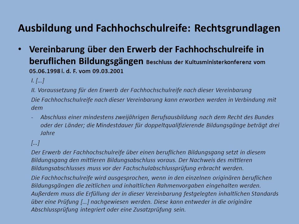 Ausbildung und Fachhochschulreife: Rechtsgrundlagen