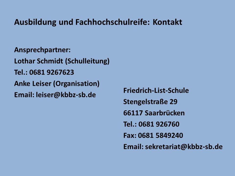 Ausbildung und Fachhochschulreife: Kontakt