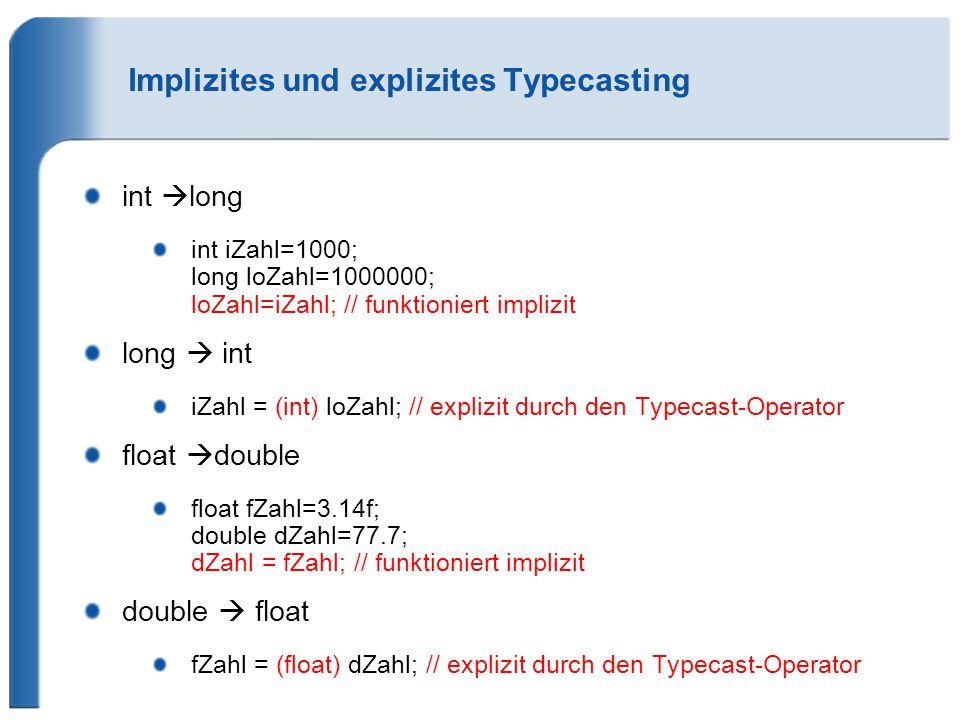 Implizites und explizites Typecasting