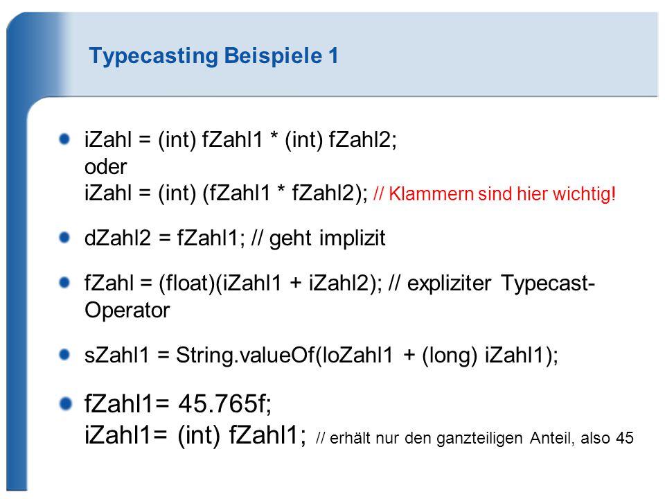 Typecasting Beispiele 1