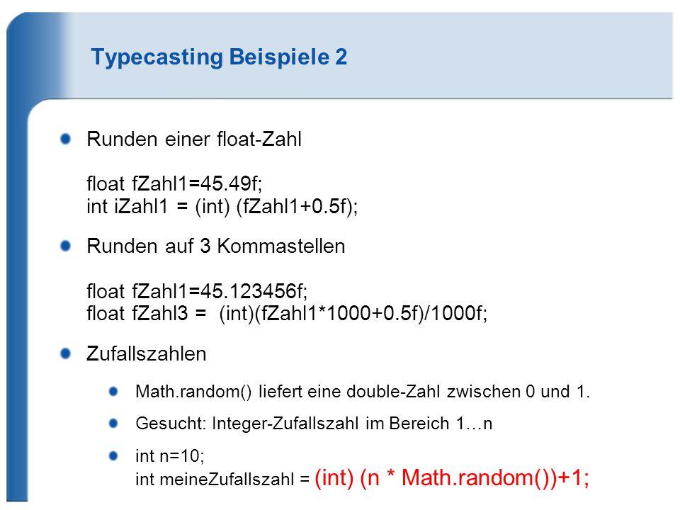 Typecasting Beispiele 2