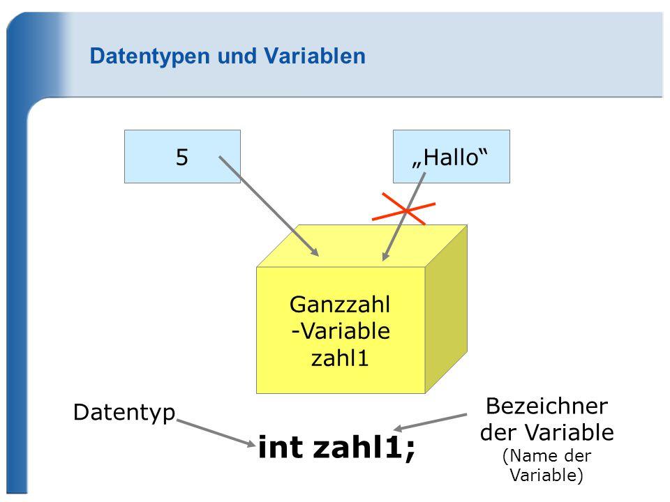 Datentypen und Variablen