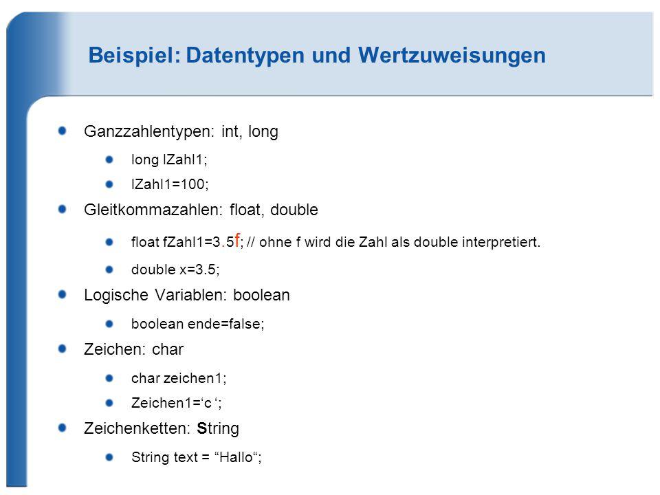 Beispiel: Datentypen und Wertzuweisungen