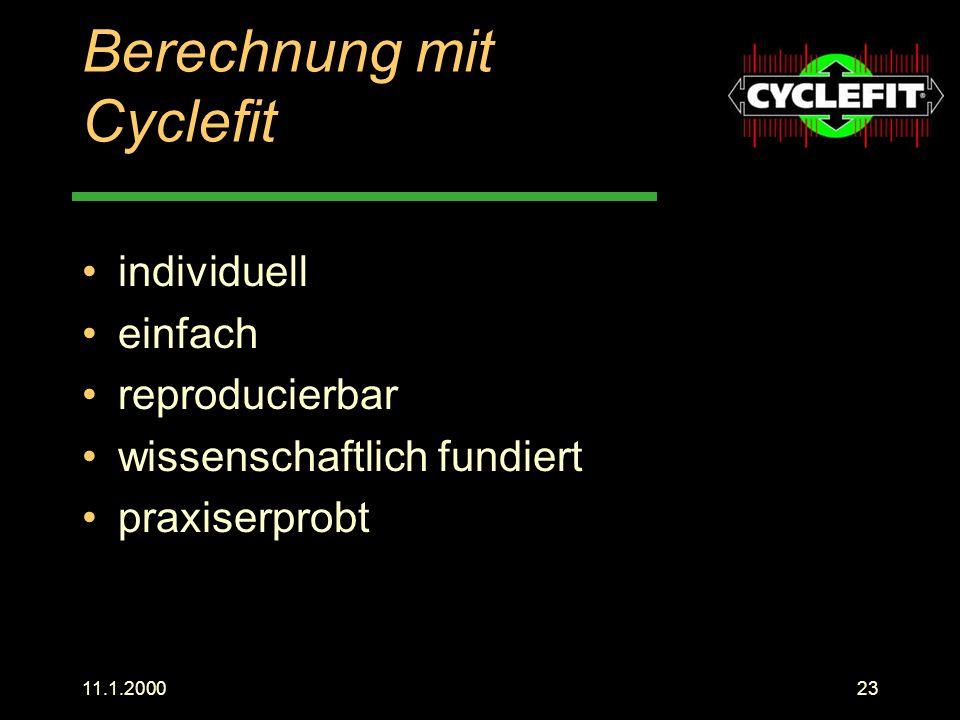 Berechnung mit Cyclefit