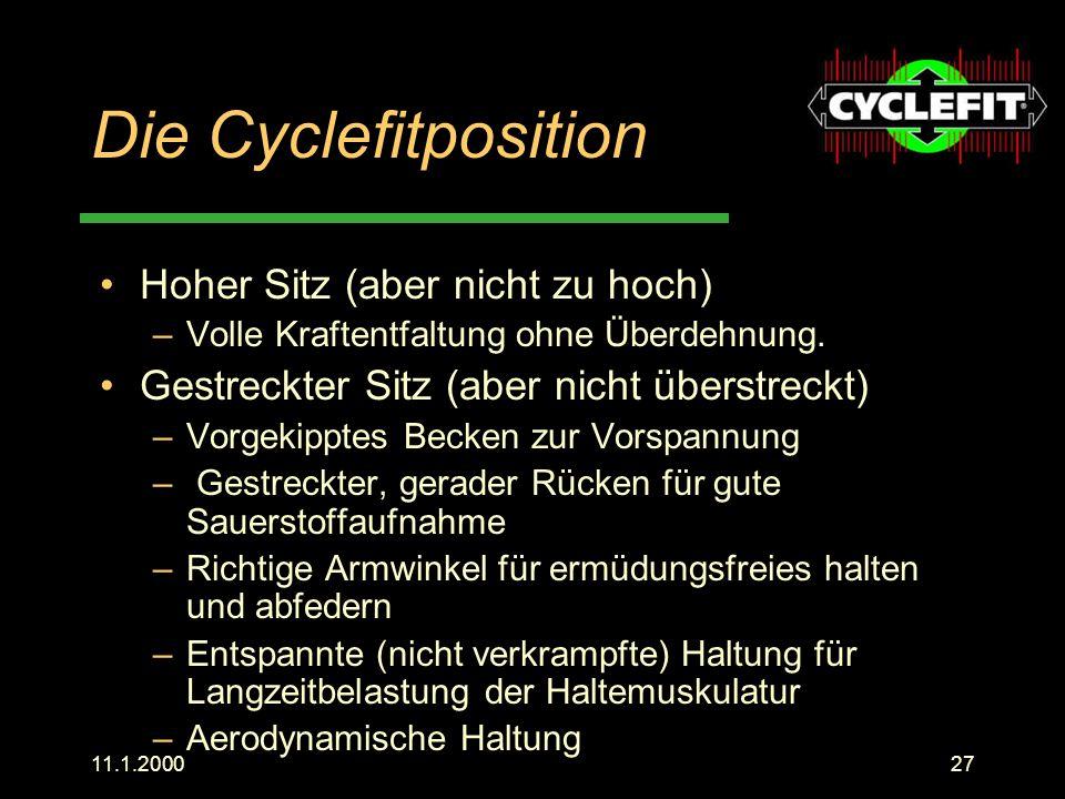 Die Cyclefitposition Hoher Sitz (aber nicht zu hoch)