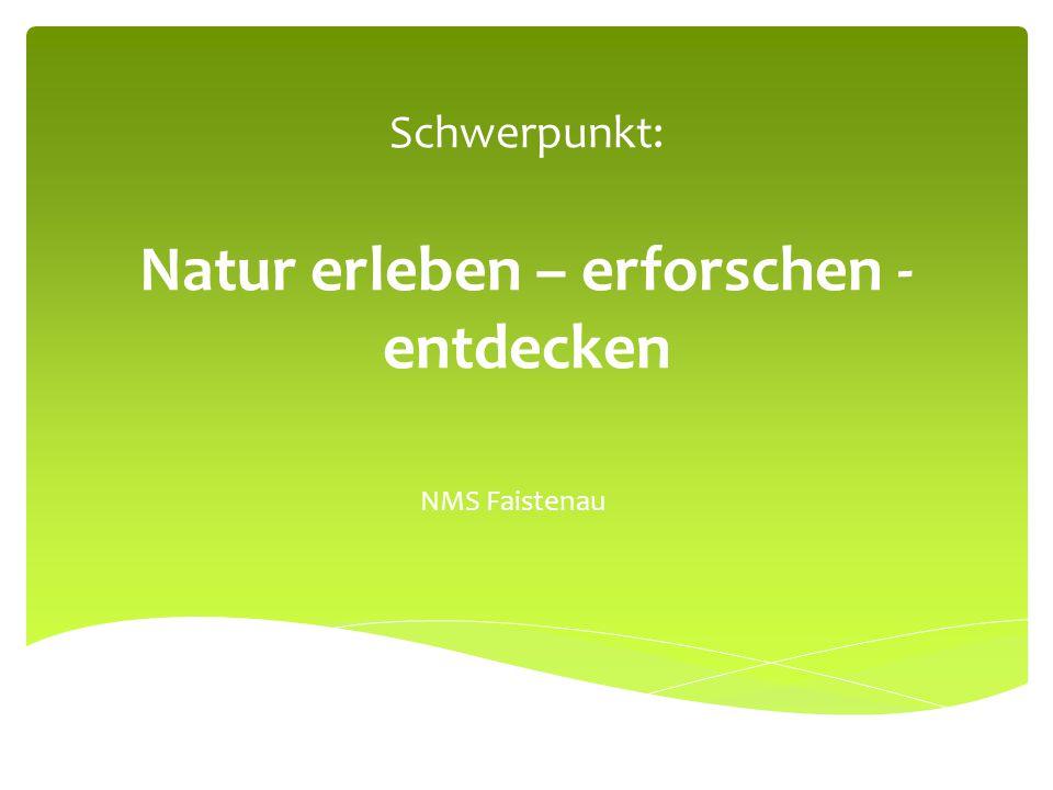 Schwerpunkt: Natur erleben – erforschen - entdecken