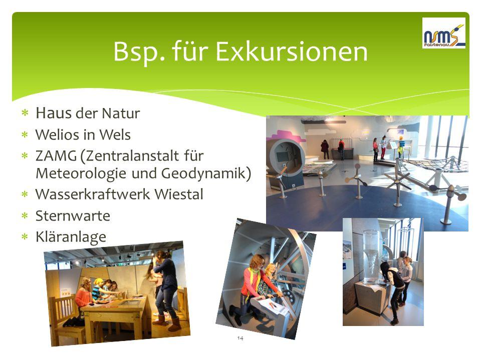 Bsp. für Exkursionen Haus der Natur Welios in Wels
