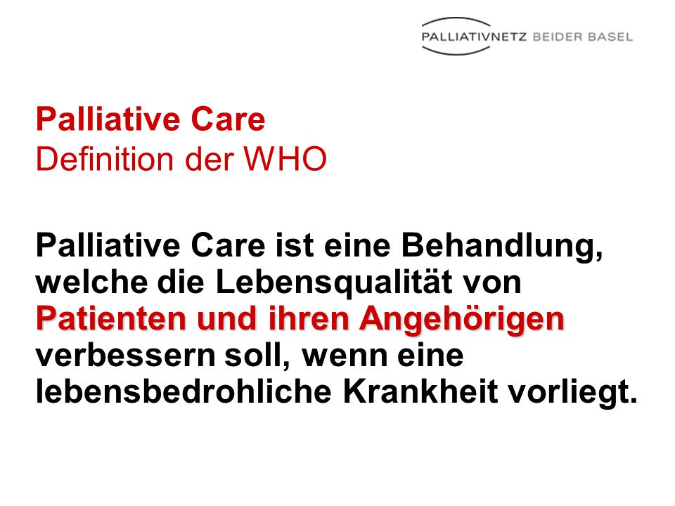 Palliative Care Definition der WHO