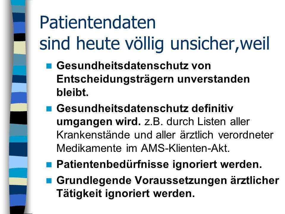 Patientendaten sind heute völlig unsicher,weil