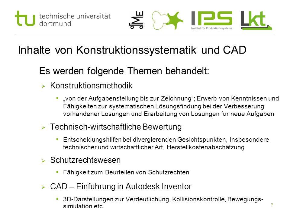 Inhalte von Konstruktionssystematik und CAD