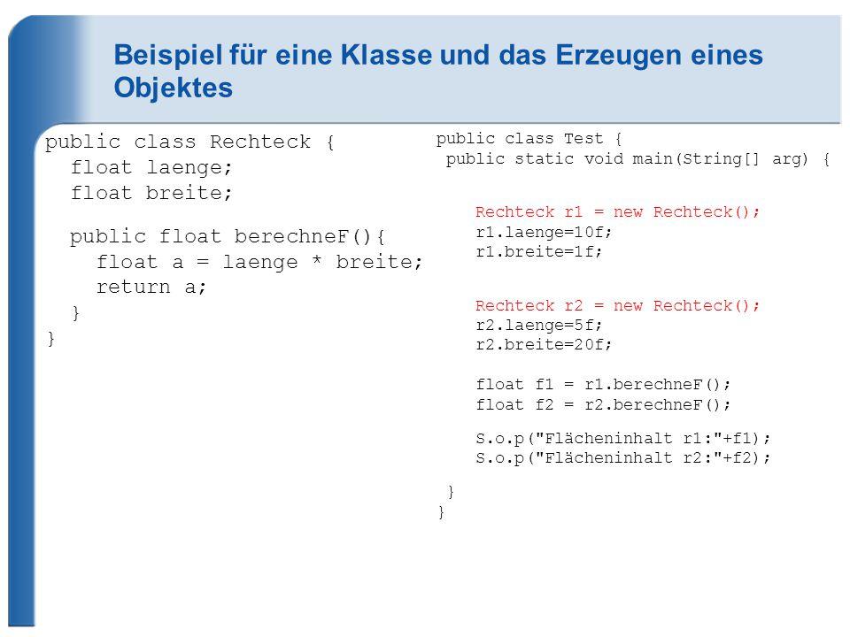 Beispiel für eine Klasse und das Erzeugen eines Objektes