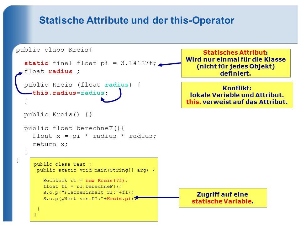 Statische Attribute und der this-Operator