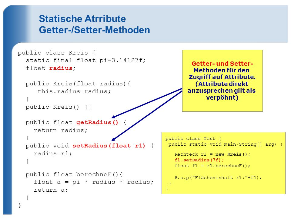 Statische Atrribute Getter-/Setter-Methoden