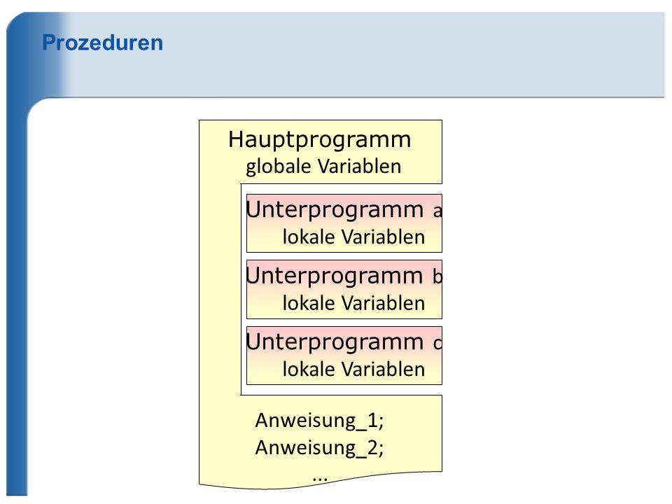 Prozeduren Hauptprogramm. globale Variablen. Unterprogramm a. lokale Variablen. Unterprogramm b.
