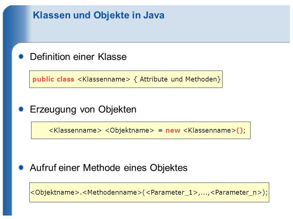 Klassen und Objekte in Java