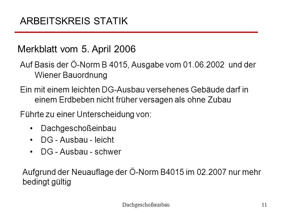 ARBEITSKREIS STATIK Merkblatt vom 5. April 2006