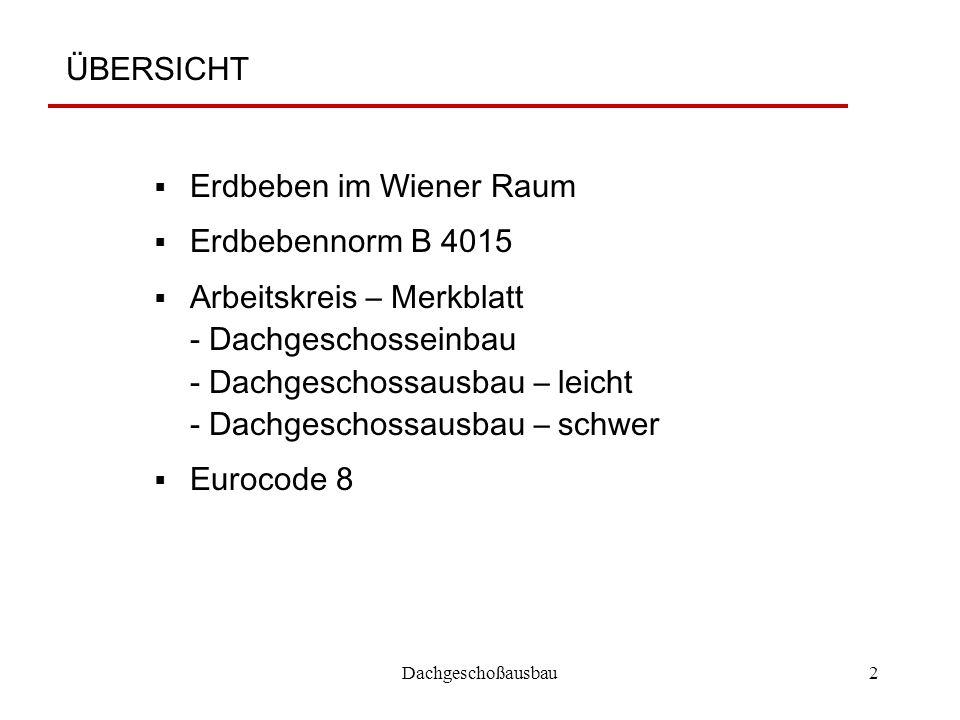 Erdbeben im Wiener Raum Erdbebennorm B 4015