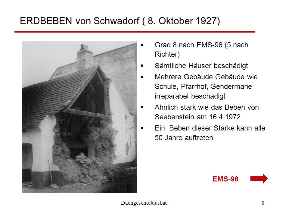 ERDBEBEN von Schwadorf ( 8. Oktober 1927)