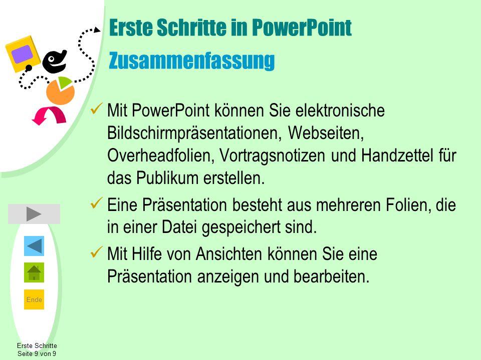 Erste Schritte in PowerPoint Zusammenfassung