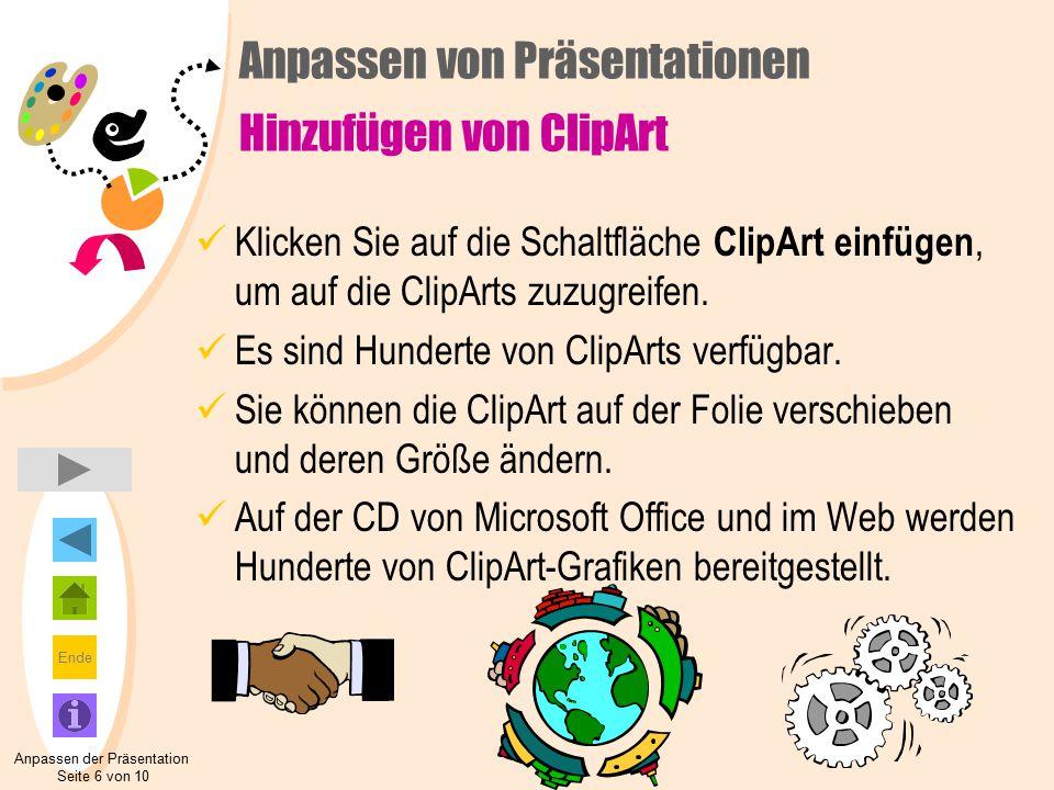 Anpassen von Präsentationen Hinzufügen von ClipArt