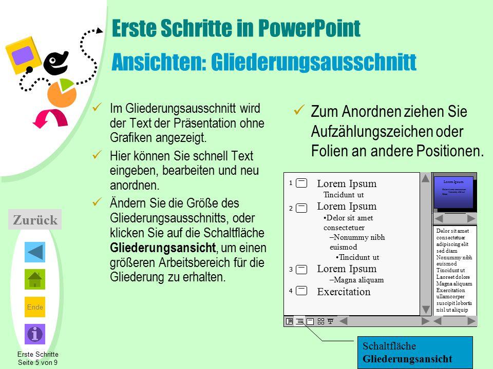 Erste Schritte in PowerPoint Ansichten: Gliederungsausschnitt