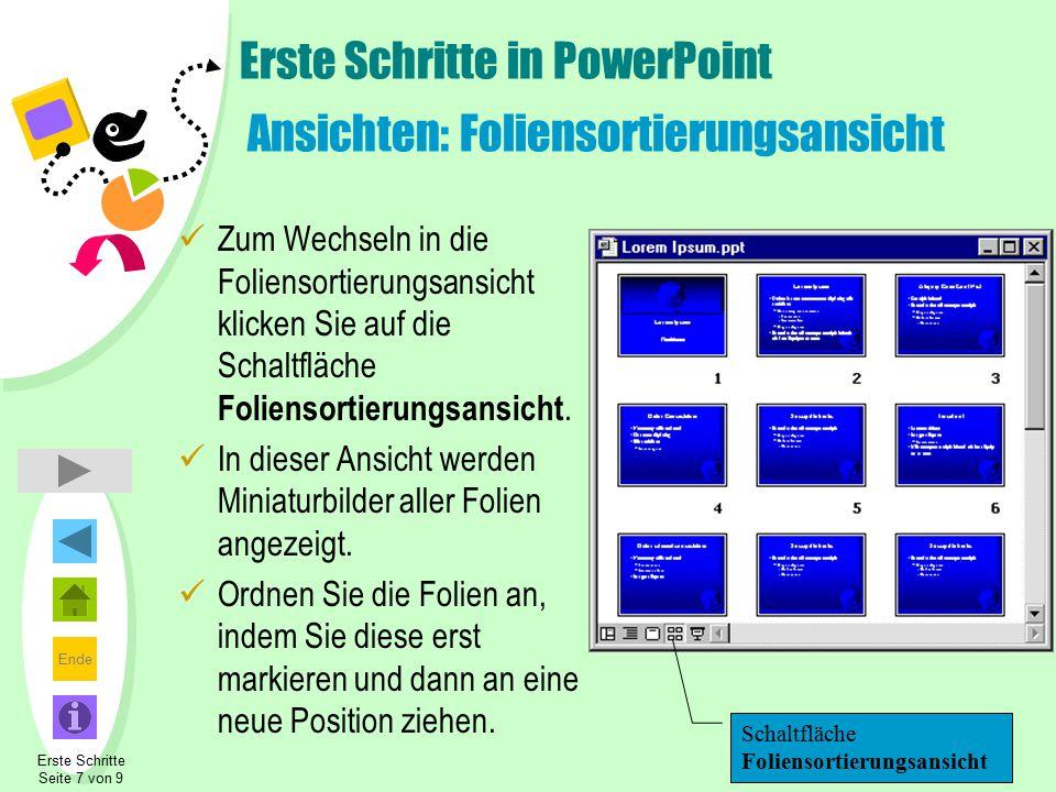 Erste Schritte in PowerPoint Ansichten: Foliensortierungsansicht