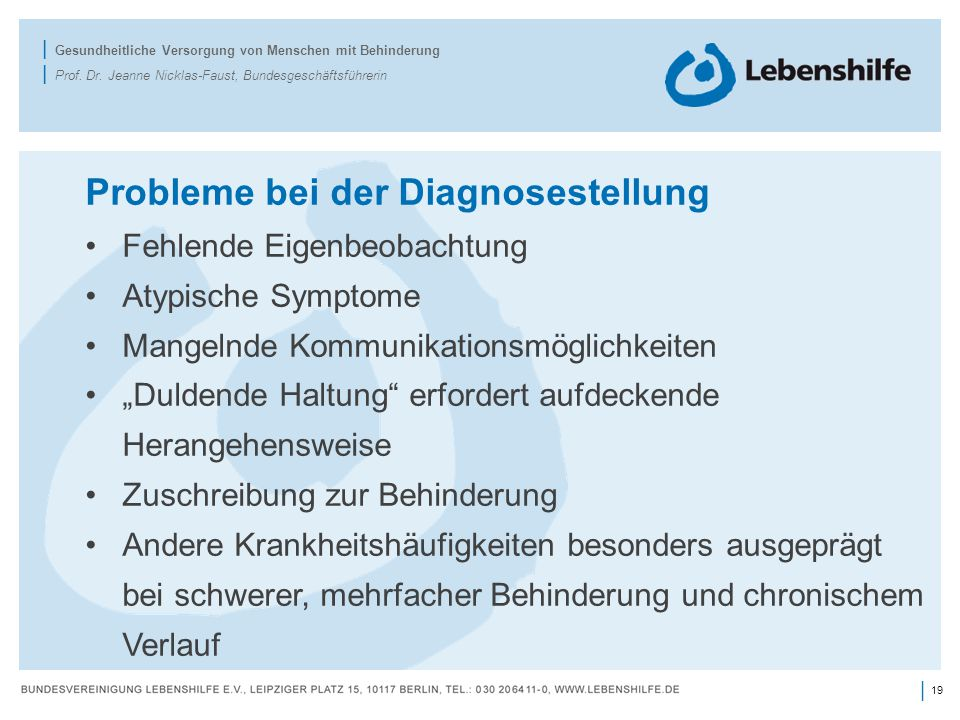 Probleme bei der Diagnosestellung
