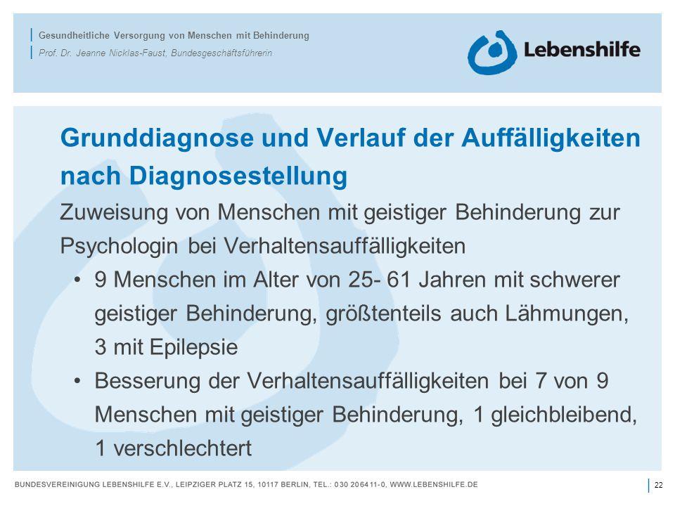 Grunddiagnose und Verlauf der Auffälligkeiten nach Diagnosestellung