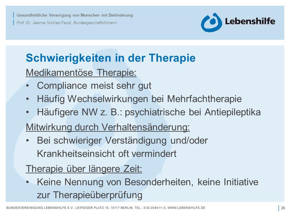 Schwierigkeiten in der Therapie