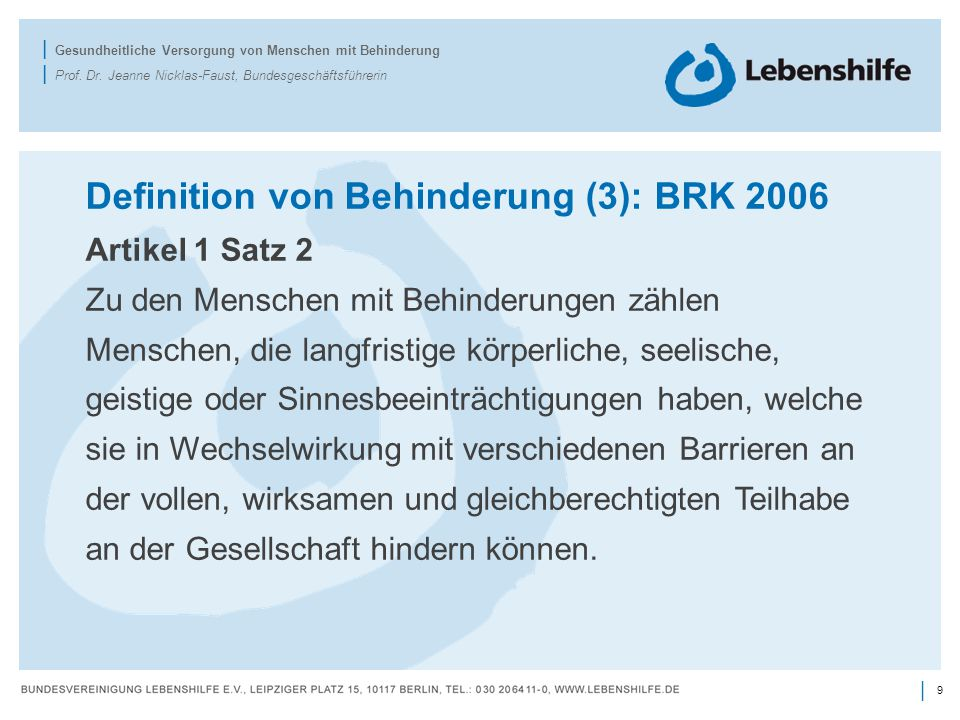 Definition von Behinderung (3): BRK 2006