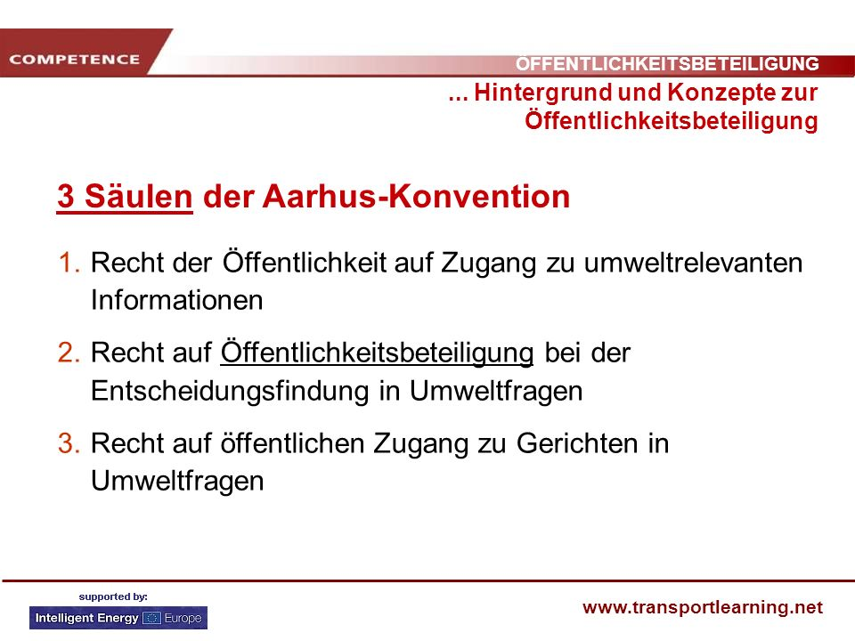 3 Säulen der Aarhus-Konvention