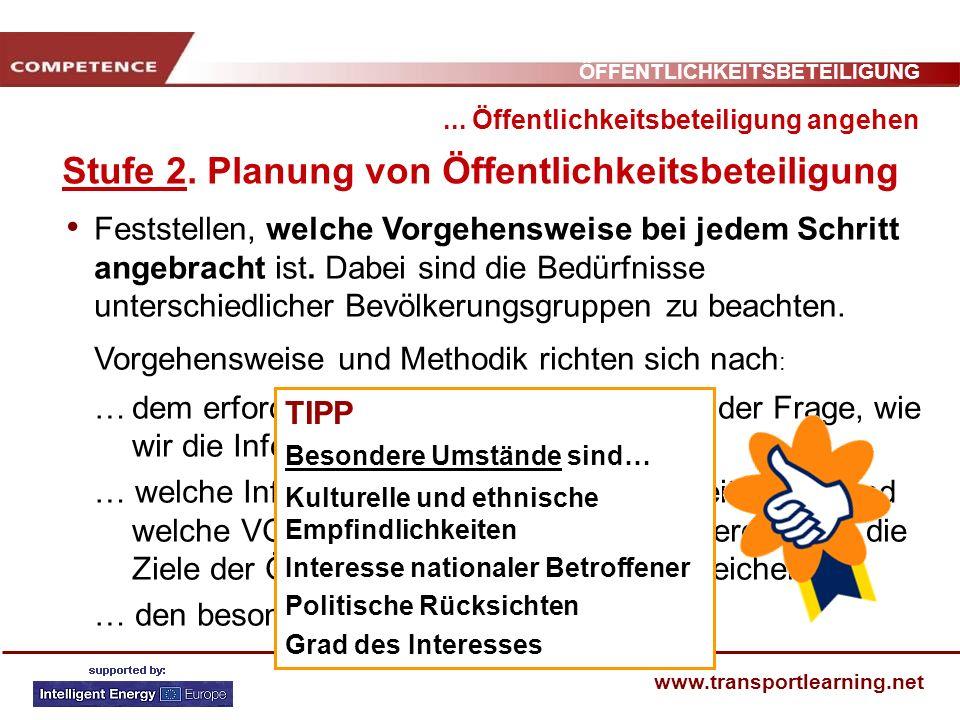 Stufe 2. Planung von Öffentlichkeitsbeteiligung