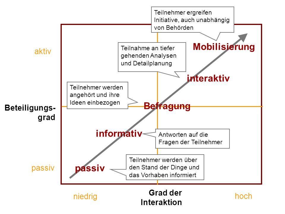Mobilisierung interaktiv Befragung informativ passiv aktiv