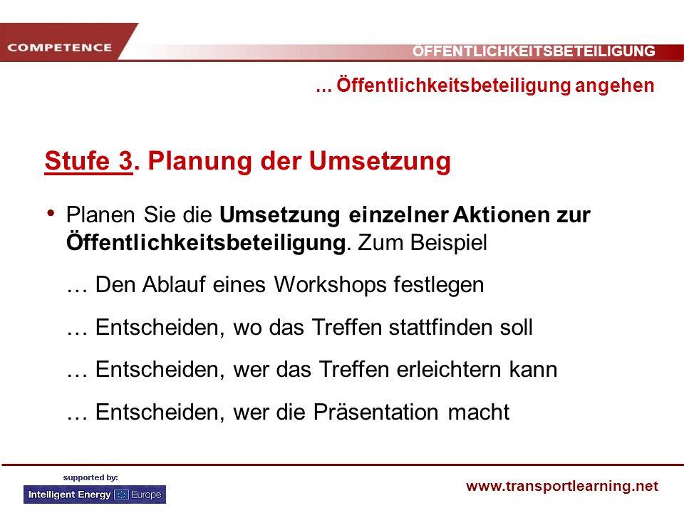 Stufe 3. Planung der Umsetzung