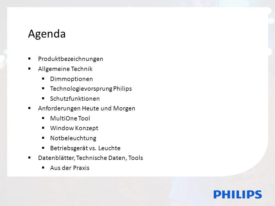 Agenda Agenda Produktbezeichnungen Allgemeine Technik Dimmoptionen