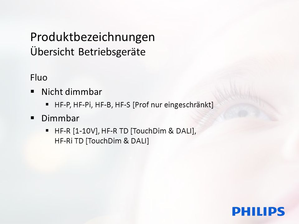Produktbezeichnungen Übersicht Betriebsgeräte