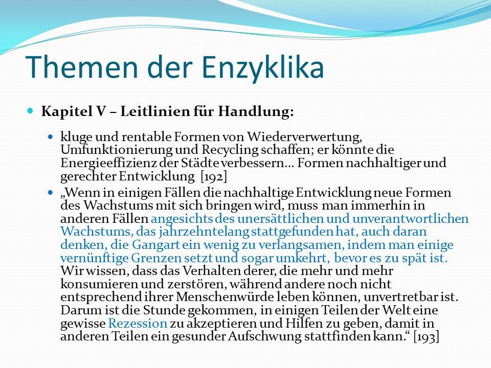Themen der Enzyklika Kapitel V – Leitlinien für Handlung: