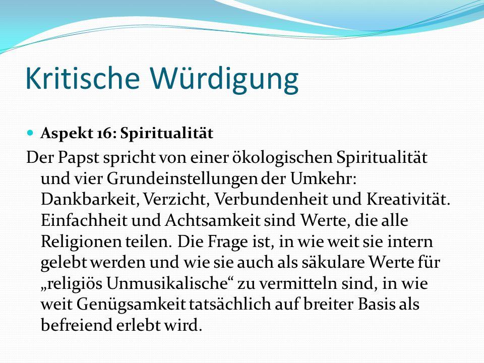 Kritische Würdigung Aspekt 16: Spiritualität.