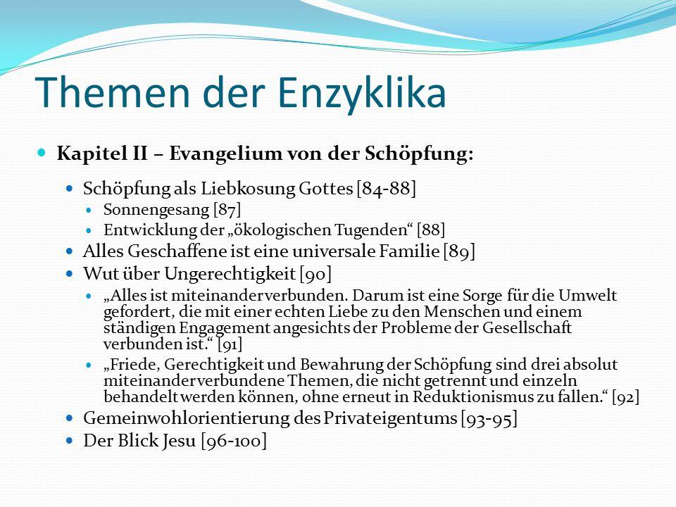 Themen der Enzyklika Kapitel II – Evangelium von der Schöpfung: