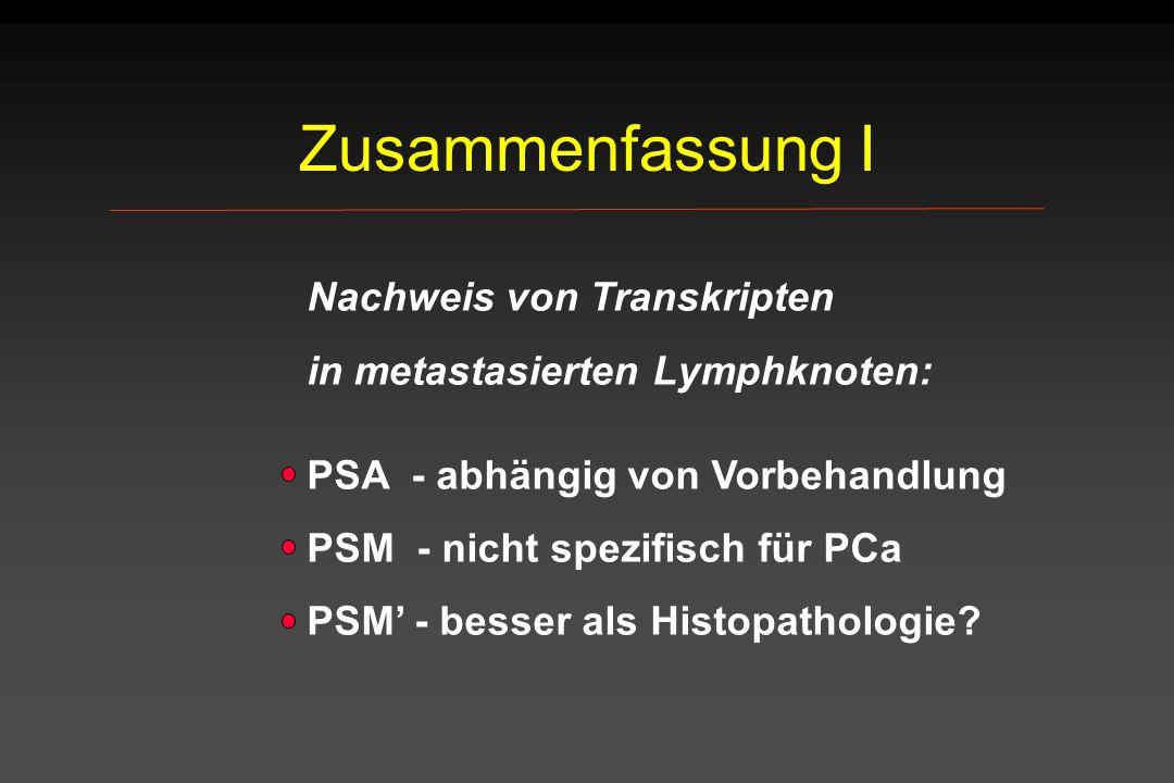 Zusammenfassung I in metastasierten Lymphknoten:
