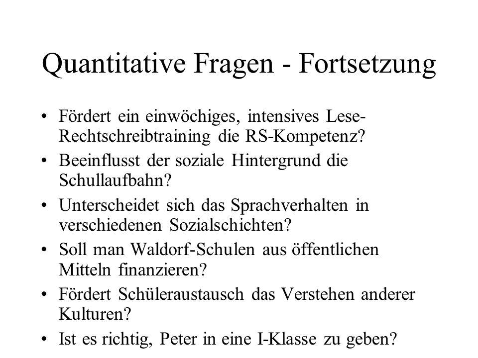Quantitative Fragen - Fortsetzung