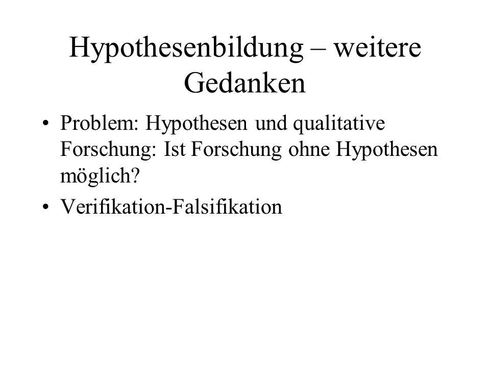 Hypothesenbildung – weitere Gedanken