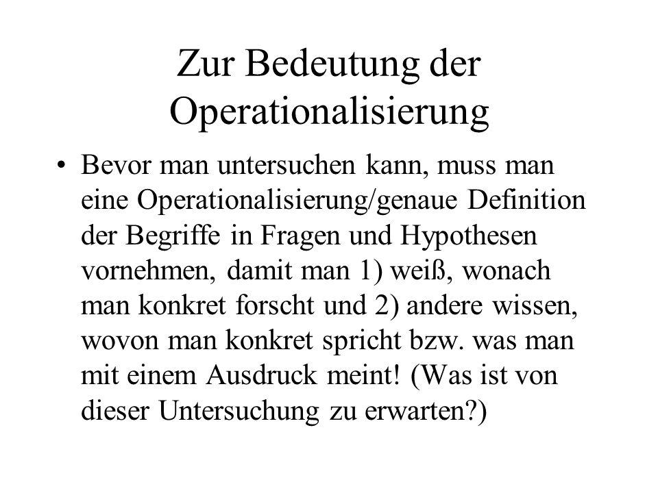 Zur Bedeutung der Operationalisierung
