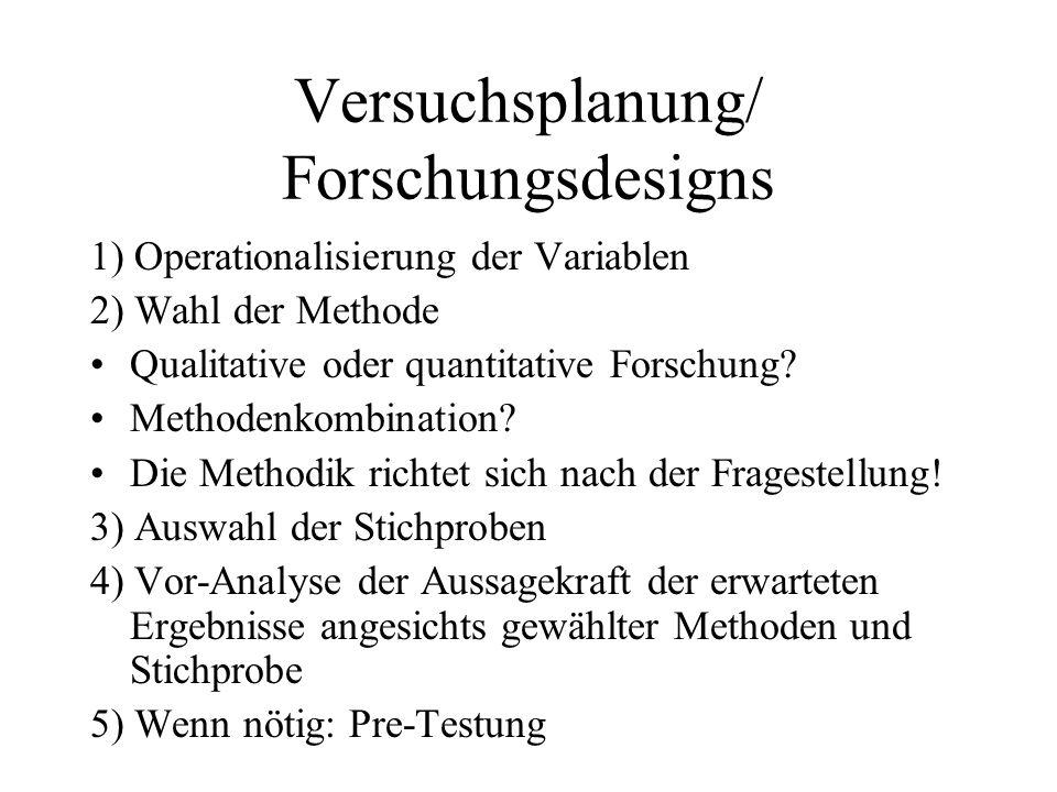 Versuchsplanung/ Forschungsdesigns