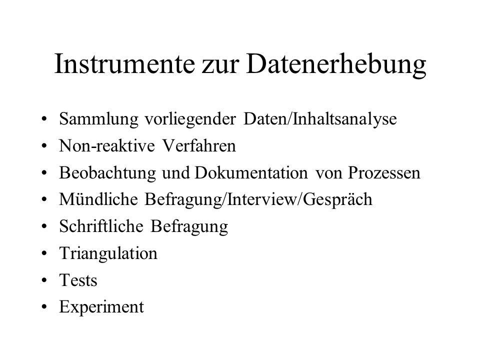 Instrumente zur Datenerhebung
