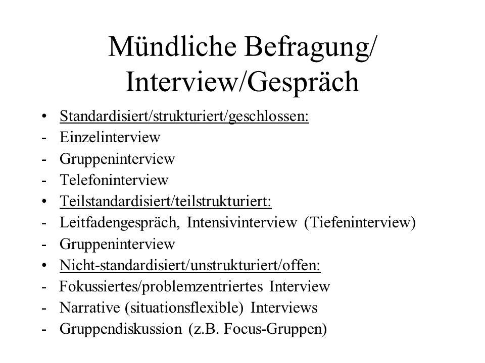 Mündliche Befragung/ Interview/Gespräch