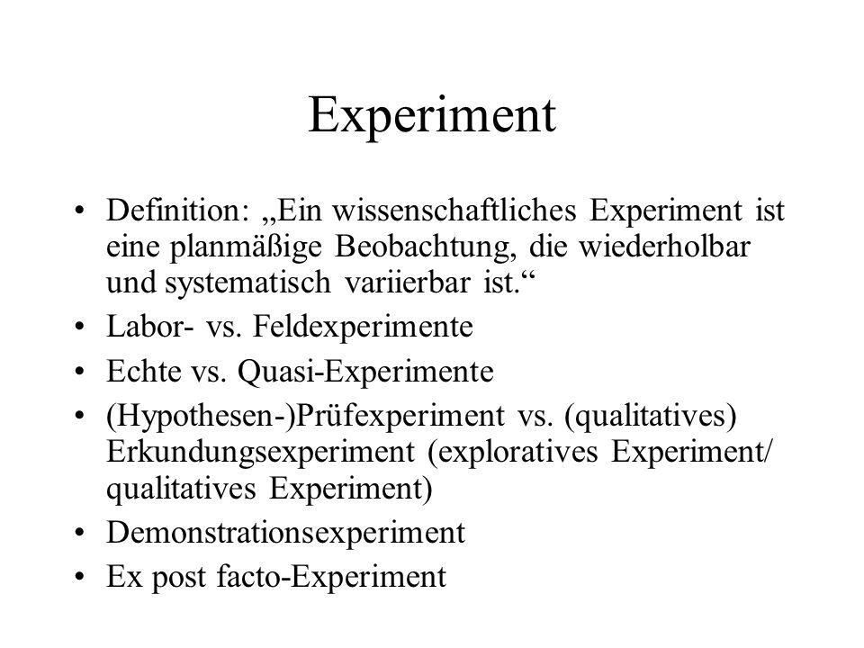 """Experiment Definition: """"Ein wissenschaftliches Experiment ist eine planmäßige Beobachtung, die wiederholbar und systematisch variierbar ist."""