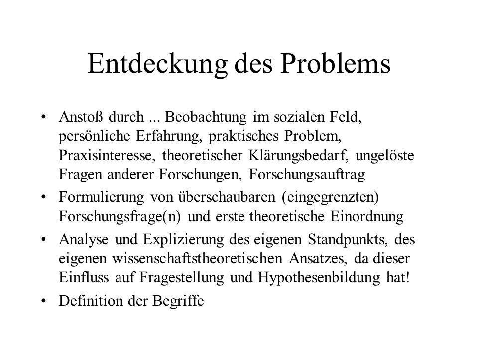 Entdeckung des Problems