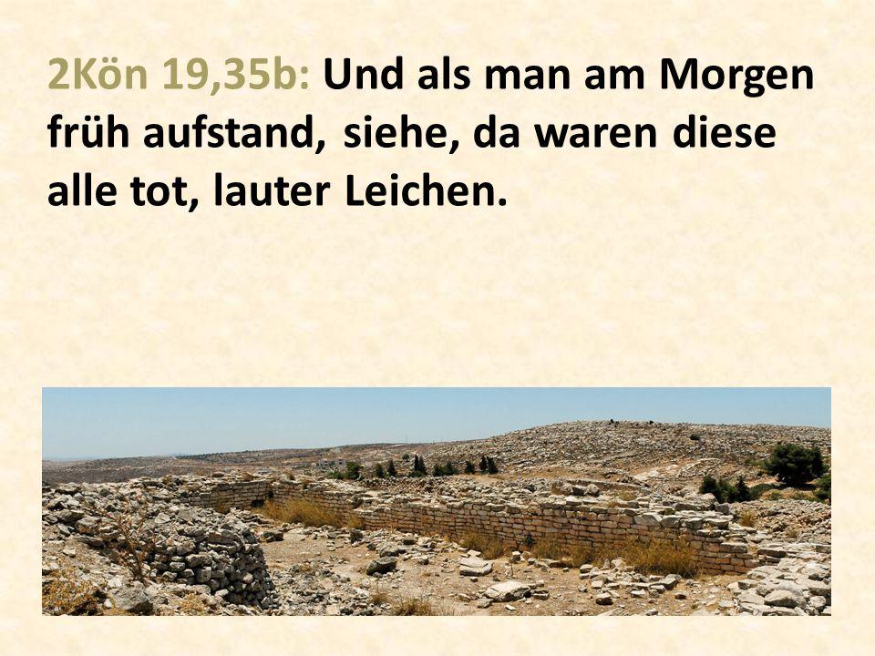 2Kön 19,35b: Und als man am Morgen früh aufstand, siehe, da waren diese alle tot, lauter Leichen.